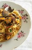 Linguini and clams. Homemade linguini and clams in a dish Royalty Free Stock Photos
