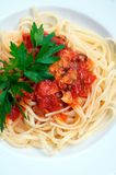 Linguini and clams. Homemade linguini and clams in a dish Royalty Free Stock Photography