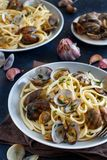 Linguini with clams. Top view - Traditional italian seafood pasta stock images