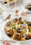 Linguini with clams. Top view - Traditional italian seafood pasta royalty free stock images