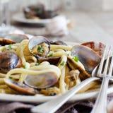 Linguini with clams. Traditional italian seafood pasta stock photos