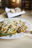 Linguini con las verduras Foto de archivo libre de regalías