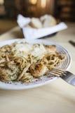 Linguini e gamberetto Fotografia Stock