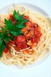 Linguini e moluscos Fotografia de Stock Royalty Free