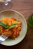 Linguini Marinara. Fresh made marinara sauce accompanied by linguini pasta Stock Photo