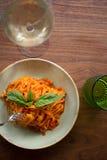 Linguini Marinara. Fresh made marinara sauce accompanied by linguini pasta Stock Photos