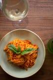Linguini Marinara. Fresh made marinara sauce accompanied by linguini pasta Royalty Free Stock Photo