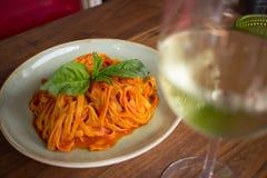 Linguini Marinara. Fresh made marinara sauce accompanied by linguini pasta Royalty Free Stock Image