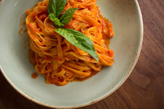 Linguini Marinara. Fresh made marinara sauce accompanied by linguini pasta Royalty Free Stock Photos