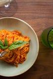 Linguini Marinara. Fresh made marinara sauce accompanied by linguini pasta Royalty Free Stock Photography