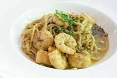 Linguini with Prawns and Scallops Closeup Stock Images