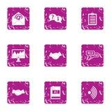 Linguistic icons set, grunge style. Linguistic icons set. Grunge set of 9 linguistic vector icons for web isolated on white background Stock Photos