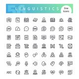 Linguistics Line Icons Set. Set of 56 linguistics line icons suitable for web, infographics and apps. Isolated on white background. Clipping paths included stock illustration