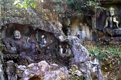 Lingyin temple klippe buddhist grottoes statues Royalty Free Stock Photography
