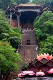 Lingyun Shan Mountain tempel Kina Arkivbild