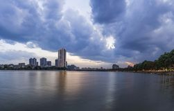 Linh Dam lake at sunset with Linh Dam lake at sunset with cloudy sky. Hanoi cityscape.cloudy sky. Hanoi cityscape. Linh Dam lake at sunset with cloudy sky. Hanoi Stock Image