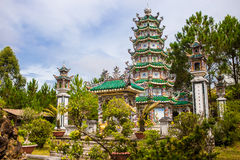 Linh Son Pagoda in Da Lat, Vietnam. Dalat`s famous landmark, buddhist temple. Colorful horizontal image Stock Photos
