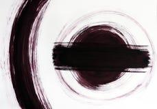 A linha é tirada por um arco e por um círculo no centro com uma linha Pino de madeira do botão do movimento imagens de stock royalty free