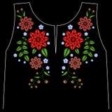 A linha étnica gráficos do pescoço das flores do bordado do projeto da flor forma vestir imagens de stock royalty free