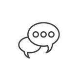 Linha ícone da bolha do discurso, sinal do vetor do esboço, pictograma linear do estilo isolado no branco ilustração royalty free