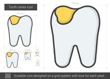 Linha ícone da cárie do dente Imagens de Stock Royalty Free