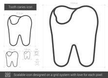 Linha ícone da cárie do dente Foto de Stock