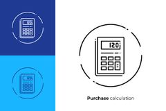 Linha ícone da calculadora eletrônica do vetor da arte fotografia de stock royalty free