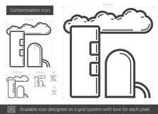 Linha ícone da contaminação ilustração do vetor