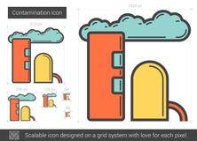 Linha ícone da contaminação ilustração stock