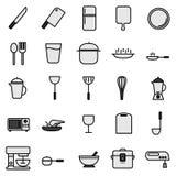 Linha ícone da cozinha ajustado com ícone simples ilustração royalty free
