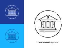 Linha ícone da fachada do banco do vetor da arte foto de stock