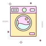 Linha ícone da máquina de lavar do vetor do estilo Fotografia de Stock Royalty Free