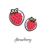 Linha ícone da morango do vetor da garatuja Fotografia de Stock Royalty Free