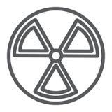 Linha ícone da radiação, aviso e símbolo, sinal de perigo, gráficos de vetor, um teste padrão linear em um fundo branco ilustração do vetor