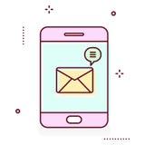 Linha ícone de Smartphone com ilustração da notificação da mensagem Imagem de Stock Royalty Free