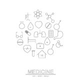 A linha ícone do círculo da medicina Imagem de Stock