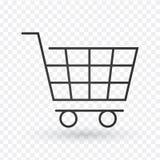 Linha ícone do carrinho de compras, sinal do vetor do esboço, pictograma linear do estilo isolado no branco Símbolo, ilustração d ilustração stock