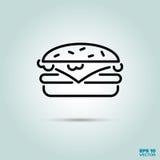 Linha ícone do cheeseburger ilustração stock