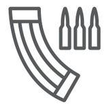 Linha ícone do compartimento da munição, exército e forças armadas, sinal da arma, gráficos de vetor, um teste padrão linear em u ilustração stock