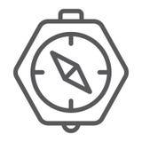 Linha ícone do compasso, geografia e sentido, sinal da navegação, gráficos de vetor, um teste padrão linear em um fundo branco ilustração royalty free