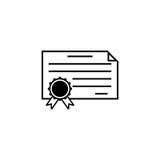 Linha ícone do diploma do certificado, escola da educação ilustração do vetor