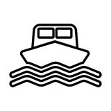 Linha ícone do navio O barco assina dentro o estilo do esboço Vetor Foto de Stock