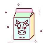 Linha ícone do pacote do leite do vetor Foto de Stock Royalty Free