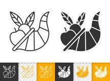 Linha ícone do preto do dia da ação de graças da cornucópia do vetor ilustração do vetor