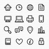 A linha ícone do símbolo dos elementos do escritório ajustou-se no fundo branco - Vector a ilustração ilustração do vetor
