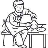 Linha ícone do vetor do Ceramist, sinal, ilustração no fundo, cursos editáveis ilustração stock