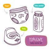 A linha ícone do vetor da arte ajustou-se com os produtos do bebê para a higiene ilustração royalty free