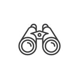 Linha ícone dos binóculos, sinal do vetor do esboço ilustração stock