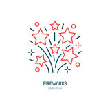 Linha ícone dos fogos-de-artifício Logotipo do vetor para o serviço do evento Ilustração linear dos foguetes Fotografia de Stock