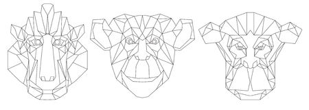 Linha ícone-geométrica triangular principal animal projeto Imagem de Stock Royalty Free
